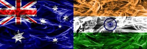 澳大利亚对印度五颜六色的烟旗子由浓烟制成 向量例证