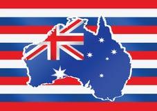澳大利亚想法设计地图和旗子  免版税图库摄影
