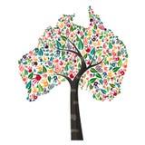 澳大利亚手印刷品世界帮助的树标志 库存例证