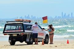 澳大利亚救生员在英属黄金海岸昆士兰澳大利亚 图库摄影