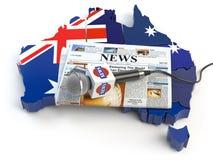 澳大利亚新闻、新闻和新闻事业概念 话筒和n 免版税库存图片