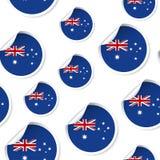 澳大利亚旗子贴纸无缝的样式背景 企业骗局 库存图片