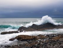 澳大利亚有击中岩石的波浪的海岸线风大浪急的海面 图库摄影