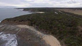 澳大利亚海岸空中风景,在对Inverloch部分的海角佩特森 股票录像