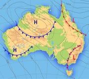 澳大利亚的天气预报气象天气图 与aditable普通的现实摘要地图澳大利亚 向量例证