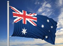 澳大利亚的挥动的旗子旗杆的 免版税库存照片