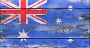 澳大利亚的旗子在脏的木板条绘了 库存图片
