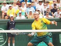 澳大利亚网球员在戴维斯杯期间的Llayton休伊特加倍对美国 免版税库存图片
