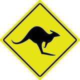 澳大利亚袋鼠roadsign 库存照片