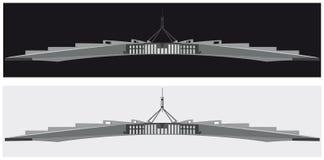 澳大利亚议会房子,堪培拉的一个黑白剪影 免版税图库摄影