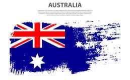 澳大利亚,刷子冲程背景的旗子 库存照片