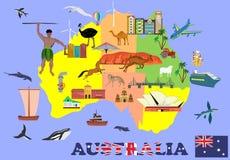 澳大利亚,国家的Infosgraphic传染媒介元素的地图,显示国家文化和地方  免版税库存图片