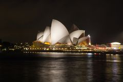 澳大利亚,悉尼,歌剧在晚上,新南威尔斯 库存图片