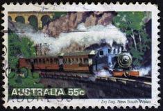 澳大利亚-大约1979年:蒸汽机车,大约1979年 库存图片