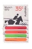 澳大利亚-大约1972年:在展示打印的邮票E 库存照片