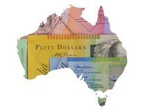 澳大利亚货币地图 免版税图库摄影