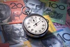 澳大利亚货币退休金时间 免版税库存照片