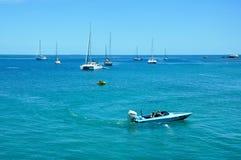 澳大利亚-海上的游艇的都市风景 免版税库存图片