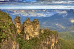 澳大利亚-蓝山山脉-三个姐妹岩层 免版税库存图片