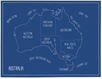 澳洲映射向量 象查找的画笔活性炭被画的现有量例证以图例解释者做柔和的淡色彩对传统 免版税库存照片