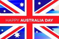澳洲气球日标志被设置的礼品图标 澳大利亚的国庆节横幅有澳大利亚国旗和字法的,传染媒介例证 库存照片