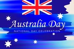 澳洲气球日标志被设置的礼品图标 澳大利亚的国庆节横幅有澳大利亚国旗和字法的,传染媒介例证 库存图片