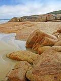 澳洲海湾海滩诺曼底人岩石 库存照片