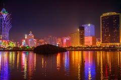 澳门地平线在晚上 免版税图库摄影