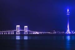 澳门塔和Sai范Bridge。 免版税库存照片
