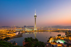 澳门市夜视图在澳门,中国 图库摄影