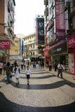 澳门有历史的步行区域 库存图片