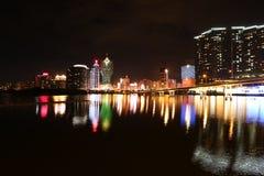 澳门,中国夜视图 库存照片