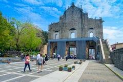 澳门,中国11日2017年:修造从1582到1602由阴险的人, a毁坏圣保罗` s大教堂废墟  图库摄影