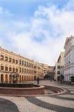澳门, PEOPLE'S中华民国- 2012年10月19日:Senado广场看法有地方人和游人的 库存图片