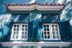 澳门- 2018年1月16日:传统老葡萄牙家庭风格 免版税库存图片