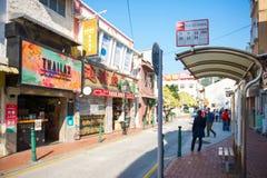 澳门- 2018年1月17日:食物街道或官也街Tai的 图库摄影