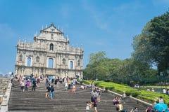 澳门- 2015年10月16日:圣保罗的废墟  修造从1602到16 免版税库存照片