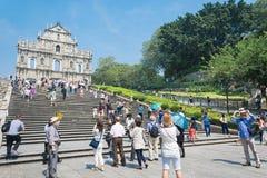 澳门- 2015年10月16日:圣保罗的废墟  修造从1602到16 免版税库存图片