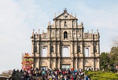 澳门-Feburary第28 2016年:圣保罗` s大教堂废墟  库存图片