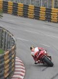 2016年澳门GP的约翰McGuiness水库弯的 在本田Fireblade 1000RR摩托车超级摩托车竟赛者 库存照片
