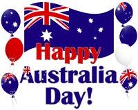 澳洲与澳洲标志气球的日背景。 免版税库存照片