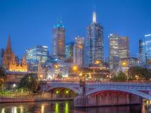 澳洲中心市财务墨尔本河地平线视图yarra 免版税库存图片