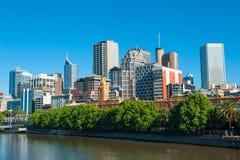 澳洲中心财务墨尔本河地平线视图yarra 免版税库存图片