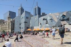 澳洲联邦墨尔本广场 库存照片