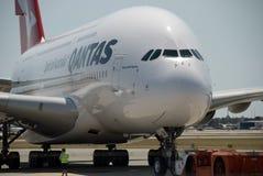 澳洲航空A380珀斯机场 库存图片
