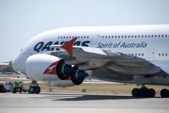 澳洲航空A380珀斯机场 图库摄影