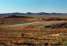 澳洲被中断的小山横向近在内地 库存图片