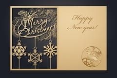 激光切口的模板圣诞卡片 通过剪影新年的图片 也corel凹道例证向量 向量例证