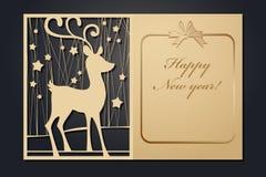 激光切口的模板圣诞卡片 通过剪影新年的图片 也corel凹道例证向量 皇族释放例证