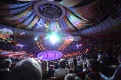 激光展示在伟大的莫斯科状态马戏的竞技场 库存照片